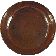 Antique Manganese Glazed Redware Brown Colored Deep Pie Plate Southeastern Pennsylvania