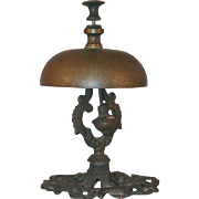 Antique Brass Call or Tap Bell Floral Reticulated Victorian Design Base