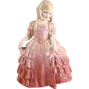 Vintage English Royal Doulton Figurine Rose in Pink Dress Bone China Colorful H.N. 1368 H.S.