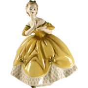 """Vintage English Royal Doulton Figurine Woman in Yellow Dress """"The Last Waltz"""" Bone China Colorful  H.N. 2315 COPR. 1965"""