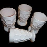 Shell Pink Milk Glass Jeannette Thumbprint JUICE GLASS  4 1/4 INCH