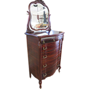 Colonial Revival Queen Anne Style Mahogany Highboy With Mirror, Circa 1895-1900