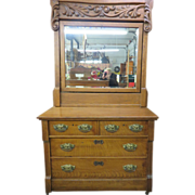 19th Century Golden Oak Eastlake Country Dresser With Massive Mirror
