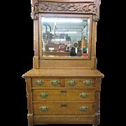 19th Century Golden Oak Eastlake Country Dresser With Massive Mirror