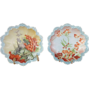 """Pair Of 8"""" MZ Austria Cabinet Plates, Circa1884-1909, Beautifully Scalloped, Hand-Painted, Marked."""