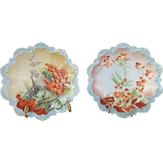 "Pair Of 8"" MZ Austria Cabinet Plates, Circa1884-1909, Beautifully Scalloped, Hand-Painted, Marked."