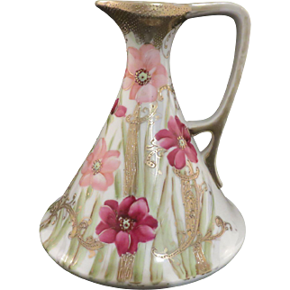 Nippon Porcelain Ewer/Pitcher, Beaded And Moriage, Hand-Painted And Gilded, Rare Green Cherry Blossom Mark, Circa 1895-1905