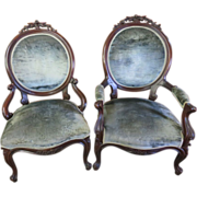Gentleman's And Lady's Victorian Chairs, Circa 1880s