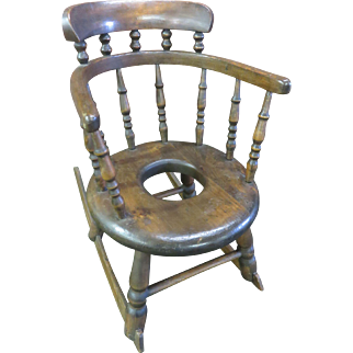 Toddler's Rocker Potty Chair, Walnut, Turned Spindle Legs And  Back, Circa 1725-1750