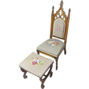 American Gothic Revival Period Cathedral Chair, Circa 1875-1890, With Foot-Stool