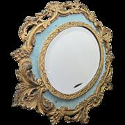 French Victorian Oval Vanity Mirror, Circa 1880