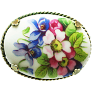 Limoges ceramic hand painted brooch France vintage
