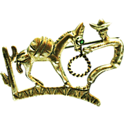 Vintage  brooch Man and the Donkey Mexico 800 silver