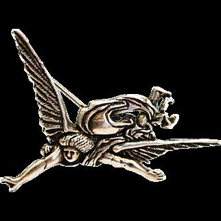 Vintage  sterling silver brooch Flying Man