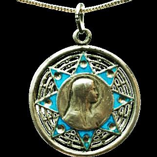 Silver enamel religious pendant vintage