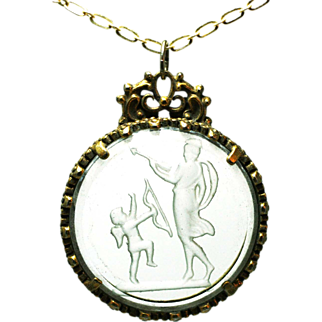 Intaglio  on glass and brass pendant