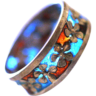 Vintage Art nouveau stile plique a jour  Enamel silver ring