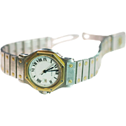Vintage 18 k gold Stainless steel middle size Cartier watch unisex extended bracelet octagon