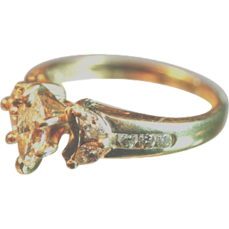 Vintage Yellow Gold Diamond ring 0.35 ct central stone 4 marquis , 6 round stones  0.9 ct total
