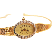 Vintage Lady 14 k Gold watch diamonds Geneve swiss quartz