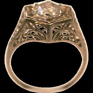 Antique Platinum Diamond ring  1.07 carat Filligree design size 6