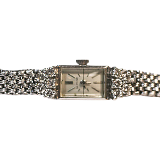 Vintage Watch Glycin 14 k white gold  2 carats diamonds runs well