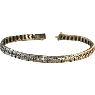 Vintage Tennis Bracelet 14k white sold  5 carats of diamonds