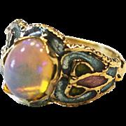 Vintage Art nouveau fire Opal yellow gold plique a jour enamel gorgeous ring 14 k gold