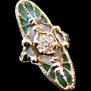 Vintage French  Art Nouveau style Batterfly ring  0.82 carat diamond SI-1 Plique a jour enamel scarce 14 k gold
