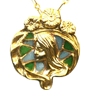 Vintage Art Nouveau style  French Repousse Gold Plique a Jour enamel pendant