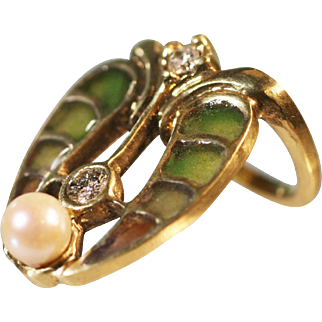 Vintage Egyptian revival Art Nouveau style ring Diamonds Plique a Jour enamel pearl