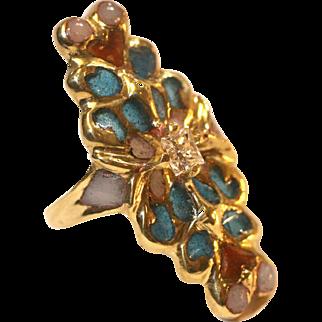 Vintage Art Nouveau style 14k ring 2 hearts 0.40 diamond Plique a Jour enamel