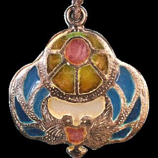 Vintage Art Nouveau French silver pendant 2 Birds Plique a Jour enamel