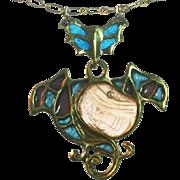 French Art Nouveau pendant Pate de Verre Plique a jour enamel 14k gold diamond vintage
