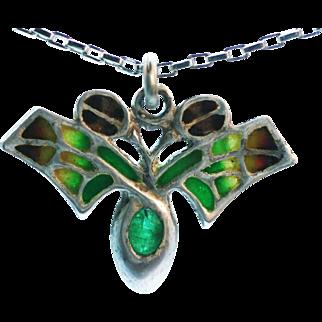 Art Nouveau Jugendstil Emerald Plique a Jour Fine silver pendant beautiful