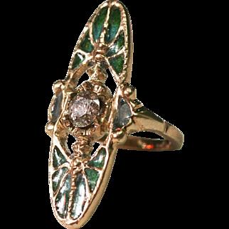 Vintage French Art Deco Art Nouveau 2 batterflies  ring 3/4 carat diamond Plique a jour enamel attractive