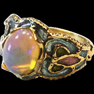 Vintage French Art Deco Australian  Opal flower ring 14k yelllow gold plique a jour enamel