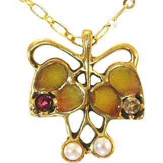 Vintage German 2 Hearts gold ruby diamond pearls pleaque a jour enamel restoration