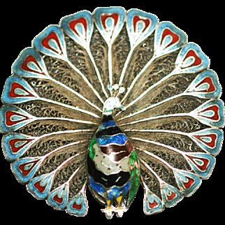 Antique Art nouveau Peacock filligree enamel brooch 900 silver pre 1920 c clasp pin