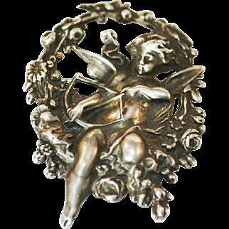 Vintage Art Nouveau Cherub repousse brooch silver 900 c clasp pin