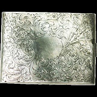 Vintage Art Nouveau silver English cigarette case mice engraving
