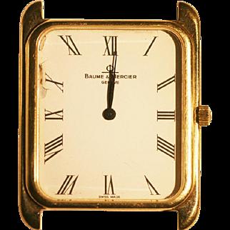 Vintage Baume Mercier hand watch in 14 k gold  rare classic model runs great .
