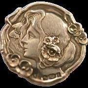 Vintage Antique Art Nouveau English silver button Hallmarks