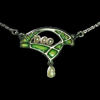 Vintage German Jugendstil pendant silver 900 pearls plique a jour enamel