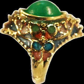 Vintage European Art Nouveau ring Emerald 2 diamonds Plique a jour enamel large