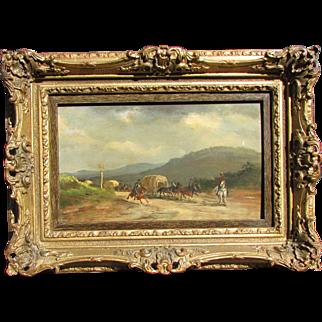19th Century Military Painting Battlefield Scene