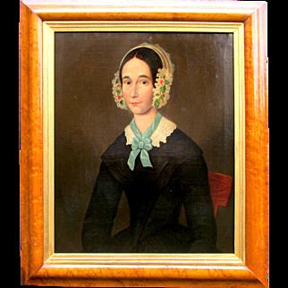 Early 19th C.  American School Women Portrait in a Lacey Flowered Cap