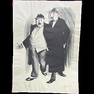 Charles Wheeler Locke (American, 1899-1983) Original Signed Lithograph Two Gentlemen Walking and Conversing 4/8
