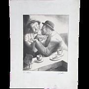 Charles Wheeler Locke (American, 1899-1983) Original Signed Lithograph Gentlemen having a conversation in a Cafe