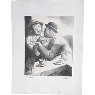 Charles Wheeler Locke (American, 1899-1983) Original Signed Lithograph Gentlemen having a conversation in a Cafe
